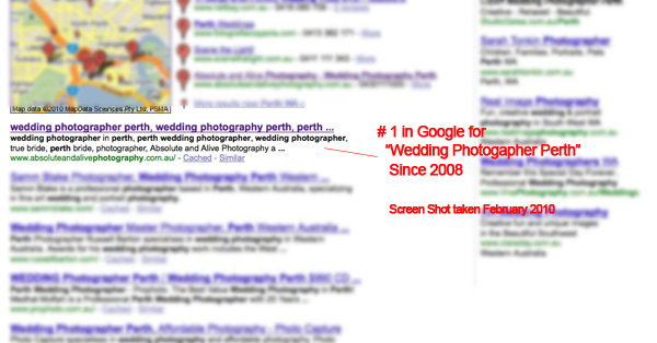 "SEO Results for ""Wedding Photographer Perth"""