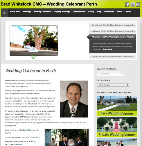 Search Engine Optimisation for a Wedding Celebrant in Perth